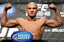 LAS VEGAS, NV - MAY 25:   Diego Brandao makes weight during the UFC 146 official weigh in at the MGM Grand Garden Arena on May 25, 2012 in Las Vegas, Nevada.  (Photo by Josh Hedges/Zuffa LLC/Zuffa LLC via Getty Images)