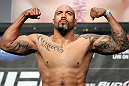 LAS VEGAS, NV - MAY 25:   Lavar Johnson makes weight during the UFC 146 official weigh in at the MGM Grand Garden Arena on May 25, 2012 in Las Vegas, Nevada.  (Photo by Josh Hedges/Zuffa LLC/Zuffa LLC via Getty Images)