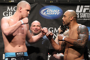 LAS VEGAS, NV - MAY 25:   (L-R) Opponents Stefan Struve and Lavar Johnson face off after making weight during the UFC 146 official weigh in at the MGM Grand Garden Arena on May 25, 2012 in Las Vegas, Nevada.  (Photo by Josh Hedges/Zuffa LLC/Zuffa LLC via Getty Images)