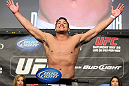 LAS VEGAS, NV - MAY 25:   Shane Del Rosario makes weight during the UFC 146 official weigh in at the MGM Grand Garden Arena on May 25, 2012 in Las Vegas, Nevada.  (Photo by Josh Hedges/Zuffa LLC/Zuffa LLC via Getty Images)