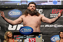 LAS VEGAS, NV - MAY 25:   Roy Nelson makes weight during the UFC 146 official weigh in at the MGM Grand Garden Arena on May 25, 2012 in Las Vegas, Nevada.  (Photo by Josh Hedges/Zuffa LLC/Zuffa LLC via Getty Images)