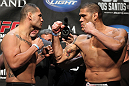 "LAS VEGAS, NV - MAY 25:   (L-R) Opponents Cain Velasquez and Antonio ""Big Foot"" Silva face off after making weight during the UFC 146 official weigh in at the MGM Grand Garden Arena on May 25, 2012 in Las Vegas, Nevada.  (Photo by Josh Hedges/Zuffa LLC/Zuffa LLC via Getty Images)"