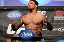 LAS VEGAS, NV - MAY 25:   Frank Mir makes weight ahead of his Heavyweight Championship bout against Junior dos Santos during the UFC 146 official weigh in at the MGM Grand Garden Arena on May 25, 2012 in Las Vegas, Nevada.  (Photo by Josh Hedges/Zuffa LLC/Zuffa LLC via Getty Images)