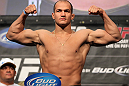 LAS VEGAS, NV - MAY 25:   UFC Heavyweight Champion Junior dos Santos makes weight ahead of his title defense against Frank Mir during the UFC 146 official weigh in at the MGM Grand Garden Arena on May 25, 2012 in Las Vegas, Nevada.  (Photo by Josh Hedges/Zuffa LLC/Zuffa LLC via Getty Images)