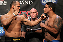 LAS VEGAS, NV - MAY 25:   (L-R) UFC Heavyweight Champion Junior dos Santos and challenger Frank Mir face off during the UFC 146 official weigh in at the MGM Grand Garden Arena on May 25, 2012 in Las Vegas, Nevada.  (Photo by Josh Hedges/Zuffa LLC/Zuffa LLC via Getty Images)