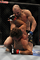LAS VEGAS, NV - MAY 26:  Glover Teixeira (top) punches Kyle Kingsbury during a light heavyweight bout at UFC 146 at MGM Grand Garden Arena on May 26, 2012 in Las Vegas, Nevada.  (Photo by Josh Hedges/Zuffa LLC/Zuffa LLC via Getty Images)
