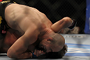 LAS VEGAS, NV - MAY 26:  Glover Teixeira attempts to submit Kyle Kingsbury during a light heavyweight bout at UFC 146 at MGM Grand Garden Arena on May 26, 2012 in Las Vegas, Nevada.  (Photo by Josh Hedges/Zuffa LLC/Zuffa LLC via Getty Images)