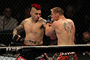 LAS VEGAS, NV - MAY 26:  Dan Hardy (left) punches Duane Ludwig during a welterweight bout at UFC 146 at MGM Grand Garden Arena on May 26, 2012 in Las Vegas, Nevada.  (Photo by Josh Hedges/Zuffa LLC/Zuffa LLC via Getty Images)