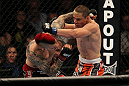 LAS VEGAS, NV - MAY 26:  (L-R) Dan Hardy and Duane Ludwig exchange punches during a welterweight bout at UFC 146 at MGM Grand Garden Arena on May 26, 2012 in Las Vegas, Nevada.  (Photo by Josh Hedges/Zuffa LLC/Zuffa LLC via Getty Images)