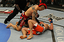 LAS VEGAS, NV - MAY 26:  Dan Hardy (top) punches Duane Ludwig during a welterweight bout at UFC 146 at MGM Grand Garden Arena on May 26, 2012 in Las Vegas, Nevada.  (Photo by Donald Miralle/Zuffa LLC/Zuffa LLC via Getty Images)