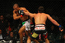LAS VEGAS, NV - MAY 26:  Jamie Varner (R) punches Edson Barboza during a lightweight bout at UFC 146 at MGM Grand Garden Arena on May 26, 2012 in Las Vegas, Nevada.  (Photo by Donald Miralle/Zuffa LLC/Zuffa LLC via Getty Images)