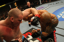 LAS VEGAS, NV - MAY 26:  Stefan Struve (L) punches Lavar Johnson during a heavyweight bout at UFC 146 at MGM Grand Garden Arena on May 26, 2012 in Las Vegas, Nevada.  (Photo by Donald Miralle/Zuffa LLC/Zuffa LLC via Getty Images)