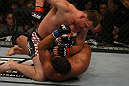 LAS VEGAS, NV - MAY 26:  Stipe Miocic (top) punches Shane Del Rosario during a heavyweight bout at UFC 146 at MGM Grand Garden Arena on May 26, 2012 in Las Vegas, Nevada.  (Photo by Donald Miralle/Zuffa LLC/Zuffa LLC via Getty Images)