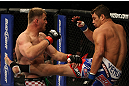 LAS VEGAS, NV - MAY 26:  Shane Del Rosario (R) kicks Stipe Miocic during a heavyweight bout at UFC 146 at MGM Grand Garden Arena on May 26, 2012 in Las Vegas, Nevada.  (Photo by Donald Miralle/Zuffa LLC/Zuffa LLC via Getty Images)