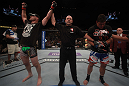 LAS VEGAS, NV - MAY 26:  Stipe Miocic (L) is declared the winner in his fight against Shane Del Rosario (R) during a heavyweight bout at UFC 146 at MGM Grand Garden Arena on May 26, 2012 in Las Vegas, Nevada.  (Photo by Donald Miralle/Zuffa LLC/Zuffa LLC via Getty Images)