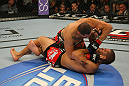 LAS VEGAS, NV - MAY 26:  Cain Velasquez (top) elbows Antonio Silva during a heavyweight bout at UFC 146 at MGM Grand Garden Arena on May 26, 2012 in Las Vegas, Nevada.  (Photo by Donald Miralle/Zuffa LLC/Zuffa LLC via Getty Images)