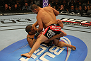 LAS VEGAS, NV - MAY 26:  Cain Velasquez (top) punches Antonio Silva during a heavyweight bout at UFC 146 at MGM Grand Garden Arena on May 26, 2012 in Las Vegas, Nevada.  (Photo by Donald Miralle/Zuffa LLC/Zuffa LLC via Getty Images)