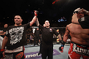 LAS VEGAS, NV - MAY 26:  Cain Velasquez (L) has his hand raised after defeating Antonio Silva (R) during a heavyweight bout at UFC 146 at MGM Grand Garden Arena on May 26, 2012 in Las Vegas, Nevada.  (Photo by Donald Miralle/Zuffa LLC/Zuffa LLC via Getty Images)