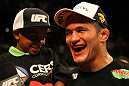 LAS VEGAS, NV - MAY 26:   Junior dos Santos reacts after knocking out Frank Mir during the Heavyweight Championship bout at UFC 146 at MGM Grand Garden Arena on May 26, 2012 in Las Vegas, Nevada. (Photo by Donald Miralle/Zuffa LLC/Zuffa LLC via Getty Images)