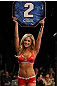 LAS VEGAS, NV - MAY 26: UFC Octagon Girl Brittney Palmer introduces round three during a featherweight bout at UFC 146 at MGM Grand Garden Arena on May 26, 2012 in Las Vegas, Nevada. (Photo by Josh Hedges/Zuffa LLC/Zuffa LLC via Getty Images)