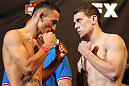 LAS VEGAS, NV - MAY 31:   (L-R) Opponents Max Holloway and Pat Schilling face off after making weight during The Ultimate Fighter Live weigh in at the Palms Casino Resort on May 31, 2012 in Las Vegas, Nevada.  (Photo by Josh Hedges/Zuffa LLC/Zuffa LLC via Getty Images)  *** Local Caption *** Max Holloway; Pat Schilling