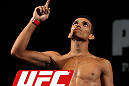 LAS VEGAS, NV - MAY 31:   Charles Oliveira makes weight during The Ultimate Fighter Live weigh in at the Palms Casino Resort on May 31, 2012 in Las Vegas, Nevada.  (Photo by Josh Hedges/Zuffa LLC/Zuffa LLC via Getty Images)  *** Local Caption *** Charles Oliveira