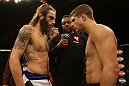 LAS VEGAS, NV - JUNE 01:   (L-R) Michael Chiesa and Al Iaquinta face off before their Lightweight bout during The Ultimate Fighter Live Finale at the Pearl Theater at the Palms Casino Resort on June 1, 2012 in Las Vegas, Nevada.  (Photo by Josh Hedges/Zuffa LLC/Zuffa LLC via Getty Images)  *** Local Caption *** Al Iaquinta; Michael Chiesa