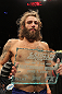 LAS VEGAS, NV - JUNE 01:   Michael Chiesa holding the Ultimate Fighter trophy during The Ultimate Fighter Live Finale at the Pearl Theater at the Palms Casino Resort on June 1, 2012 in Las Vegas, Nevada.  (Photo by Josh Hedges/Zuffa LLC/Zuffa LLC via Getty Images)  *** Local Caption *** Michael Chiesa