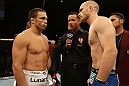 LAS VEGAS, NV - JUNE 01:   (L-R) Jake Ellenberger and Martin Kampmann face off before their welterweight bout during The Ultimate Fighter Live Finale at the Pearl Theater at the Palms Casino Resort on June 1, 2012 in Las Vegas, Nevada.  (Photo by Josh Hedges/Zuffa LLC/Zuffa LLC via Getty Images)  *** Local Caption *** Jake Ellenberger; Martin Kampmann