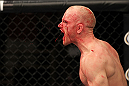 LAS VEGAS, NV - JUNE 01:   Martin Kampmann reacts to his knockout victory in a Welterweight bout against Jake Ellenberger during The Ultimate Fighter Live Finale at the Pearl Theater at the Palms Casino Resort on June 1, 2012 in Las Vegas, Nevada.  (Photo by Josh Hedges/Zuffa LLC/Zuffa LLC via Getty Images)  *** Local Caption *** Martin Kampmann