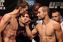 SUNRISE, FL - JUNE 07:   (L-R) Opponents Tim Means and Justin Salas face off after making weight during the UFC on FX 3 official weigh in at Bank Atlantic Center on June 7, 2012 in Sunrise, Florida.  (Photo by Josh Hedges/Zuffa LLC/Zuffa LLC via Getty Images)