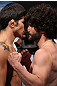 UNRISE, FL - JUNE 07:   (L-R) Welterweight opponents Erick Silva and Charlie Brenneman face off after making weight during the UFC on FX 3 official weigh in at Bank Atlantic Center on June 7, 2012 in Sunrise, Florida.  (Photo by Josh Hedges/Zuffa LLC/Zuffa LLC via Getty Images)