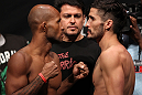SUNRISE, FL - JUNE 07:   (L-R) Featherweight opponents Demetrious Johnson and Ian McCall face off after making weight during the UFC on FX 3 official weigh in at Bank Atlantic Center on June 7, 2012 in Sunrise, Florida.  (Photo by Josh Hedges/Zuffa LLC/Zuffa LLC via Getty Images)