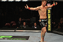SUNRISE, FL - JUNE 08:   Mike Pyle celebrates after knocking out Josh Neer in a Welterweight bout during the UFC on FX 3 event at Bank Atlantic Center on June 8, 2012 in Sunrise, Florida.  (Photo by Josh Hedges/Zuffa LLC/Zuffa LLC via Getty Images)