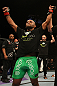 SUNRISE, FL - JUNE 08:   Demetrious Johnson reacts after defeating Ian McCall by decision in a Flyweight bout during the UFC on FX 3 event at Bank Atlantic Center on June 8, 2012 in Sunrise, Florida.  (Photo by Josh Hedges/Zuffa LLC/Zuffa LLC via Getty Images)