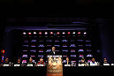 BELO HORIZONTE, BRAZIL - JUNE 21:   A general view of the fighters on the dais during the UFC 147 press conference at Ouro Minas Palace on June 21, 2012 in Belo Horizonte, Brazil.  (Photo by Josh Hedges/Zuffa LLC/Zuffa LLC via Getty Images)