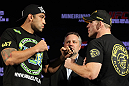 BELO HORIZONTE, BRAZIL - JUNE 21:   (L-R) Heavyweight opponents Fabricio Werdum and Mike Russow face off during the UFC 147 press conference at Ouro Minas Palace on June 21, 2012 in Belo Horizonte, Brazil.  (Photo by Josh Hedges/Zuffa LLC/Zuffa LLC via Getty Images)
