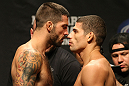 ATLANTIC CITY, NJ - JUNE 21:  (L-R) Welterweight opponents Matt Brown and Luis Ramos face off after making weight during the UFC on FX official weigh in at Revel Casino on June 21, 2012 in Atlantic City, New Jersey.  (Photo by Nick Laham/Zuffa LLC/Zuffa LLC via Getty Images)