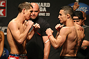 ATLANTIC CITY, NJ - JUNE 21: (L-R) Featherweight opponents Steven Siler and Joey Gambino face off after making weight during the UFC on FX official weigh in at Revel Casino on June 21, 2012 in Atlantic City, New Jersey.  (Photo by Nick Laham/Zuffa LLC/Zuffa LLC via Getty Images)