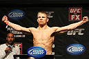 ATLANTIC CITY, NJ - JUNE 21: Rick Story  makes weight during the UFC on FX official weigh in at Revel Casino on June 21, 2012 in Atlantic City, New Jersey.  (Photo by Nick Laham/Zuffa LLC/Zuffa LLC via Getty Images)