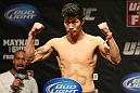 ATLANTIC CITY, NJ - JUNE 21: Hatsu Hioki flexes after making weight during the UFC on FX official weigh in at Revel Casino on June 21, 2012 in Atlantic City, New Jersey.  (Photo by Nick Laham/Zuffa LLC/Zuffa LLC via Getty Images)