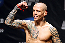 ATLANTIC CITY, NJ - JUNE 21:  Ross Pearson flexes after making weight during the UFC on FX official weigh in at Revel Casino on June 21, 2012 in Atlantic City, New Jersey.  (Photo by Nick Laham/Zuffa LLC/Zuffa LLC via Getty Images)