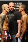 ATLANTIC CITY, NJ - JUNE 21: (L-R) Featherweight opponents Ross Pearson and Cub Swanson face off after making weight during the UFC on FX official weigh in at Revel Casino on June 21, 2012 in Atlantic City, New Jersey.  (Photo by Nick Laham/Zuffa LLC/Zuffa LLC via Getty Images)