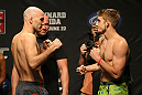 ATLANTIC CITY, NJ - JUNE 21: (L-R) Welterweight opponents Brian Ebersole and TJ Waldburger face off after making weight during the UFC on FX official weigh in at Revel Casino on June 21, 2012 in Atlantic City, New Jersey.  (Photo by Nick Laham/Zuffa LLC/Zuffa LLC via Getty Images)