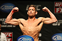 ATLANTIC CITY, NJ - JUNE 21: Sam Stout flexes after making weight during the UFC on FX official weigh in at Revel Casino on June 21, 2012 in Atlantic City, New Jersey.   (Photo by Nick Laham/Zuffa LLC/Zuffa LLC via Getty Images)
