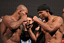 BELO HORIZONTE, BRAZIL - JUNE 22:   (L-R) Opponents Delson Heleno and Francisco Trinaldo face off  during the UFC 147 weigh in at Est&Atilde;&iexcl;dio Jornalista Felipe Drummond on June 22, 2012 in Belo Horizonte, Brazil.  (Photo by Josh Hedges/Zuffa LLC/Zuffa LLC via Getty Images)