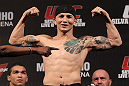 BELO HORIZONTE, BRAZIL - JUNE 22:   Anistavio Medeiros makes weight during the UFC 147 weigh in at Estadio Jornalista Felipe Drummond on June 22, 2012 in Belo Horizonte, Brazil.  (Photo by Josh Hedges/Zuffa LLC/Zuffa LLC via Getty Images)