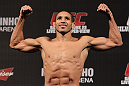 BELO HORIZONTE, BRAZIL - JUNE 22:   Hacran Dias makes weight during the UFC 147 weigh in at Estadio Jornalista Felipe Drummond on June 22, 2012 in Belo Horizonte, Brazil.  (Photo by Josh Hedges/Zuffa LLC/Zuffa LLC via Getty Images)