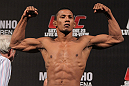 BELO HORIZONTE, BRAZIL - JUNE 22:   Yuri Alcantara makes weight during the UFC 147 weigh in at Estadio Jornalista Felipe Drummond on June 22, 2012 in Belo Horizonte, Brazil.  (Photo by Josh Hedges/Zuffa LLC/Zuffa LLC via Getty Images)
