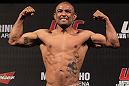 "BELO HORIZONTE, BRAZIL - JUNE 22:   Sergio ""Serginho"" Moraes makes weight during the UFC 147 weigh in at Estadio Jornalista Felipe Drummond on June 22, 2012 in Belo Horizonte, Brazil.  (Photo by Josh Hedges/Zuffa LLC/Zuffa LLC via Getty Images)"
